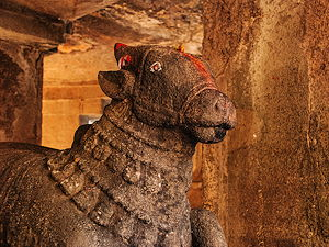 A Nandi Bull Statue at the Pataleshwar Cave temple in Pune, India