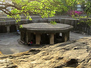 A photo of the Pataleshwar Cave temple in Pune, India