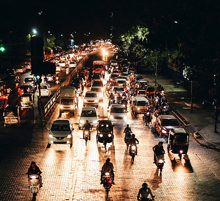 Traffic in the evening in Pune, India