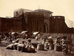The imposing walls of the Shaniwar Wada, in a photograph from 1860