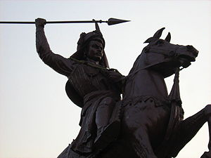 An equestrian statue of Bajirao I in the Shaniwarwada complex