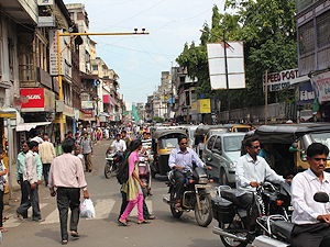 A busy street in Pune, India