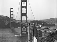 The twin towers of the Golden Gate Bridge