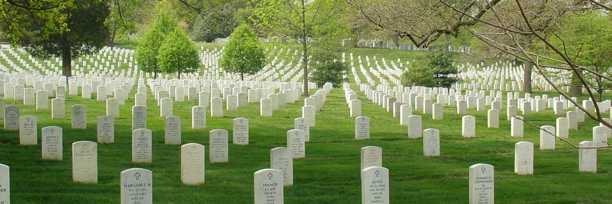 Symetrical graves at Arlington Cemetery