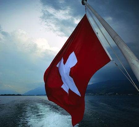 The flag of Switzerland on boat at Lake Zurich in Switzerland
