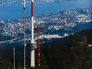 After 30 years of operation in 1990, the old transmission tower on Uetliberg was dismantled