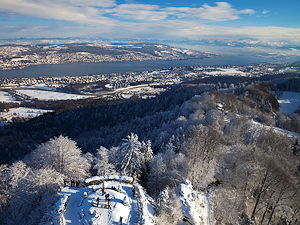 Panoramic view from the top of the observation tower on Uetliberg next to the Uto Kulm hotel